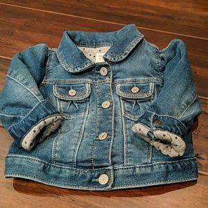 EUC Gap denim jacket with polka dot lining